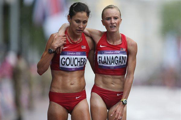 (L-R) Kara Goucher and Shalane Flanagan of the United States at the finish line after competing during the Women's Marathon on Day 9 of the London 2012 Olympic Games on 5 August 2012 (Getty Images)