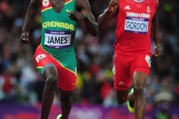 Kirani James of Grenada races alongside Lalonde Gordon of Trinidad and Tobago in the Men's 400m final on Day 10 of the London 2012 Olympic Games on 6 August 2012 (Getty Images)