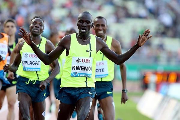 Ronald Kwemoi winning the 1500m at the 2014 IAAF Diamond League meeting in Lausanne (Giancarlo Colombo)