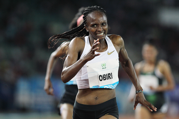 Hellen Obiri wins the 5000m at the IAAF Diamond League meeting in Rabat (Jean-Pierre Durand)
