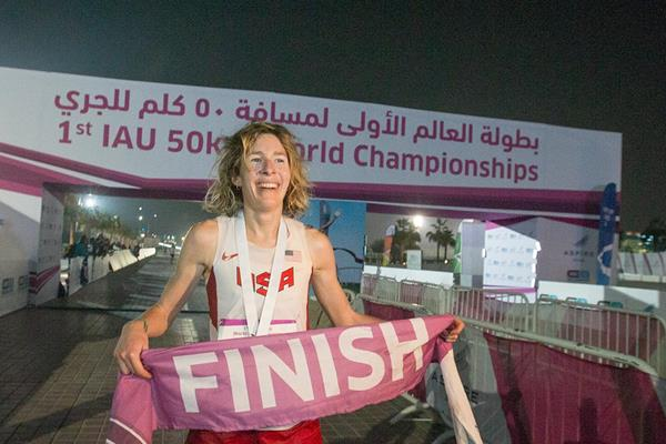 Camille Herron after winning at the 2015 IAU 50km World Championships (IAU)