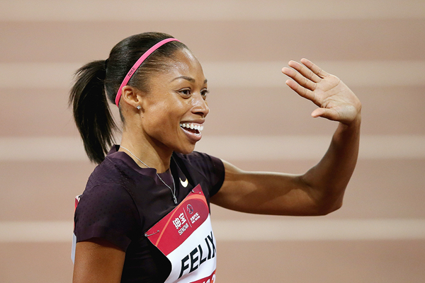 US sprinter Allyson Felix after winning the 200m (Getty Images)
