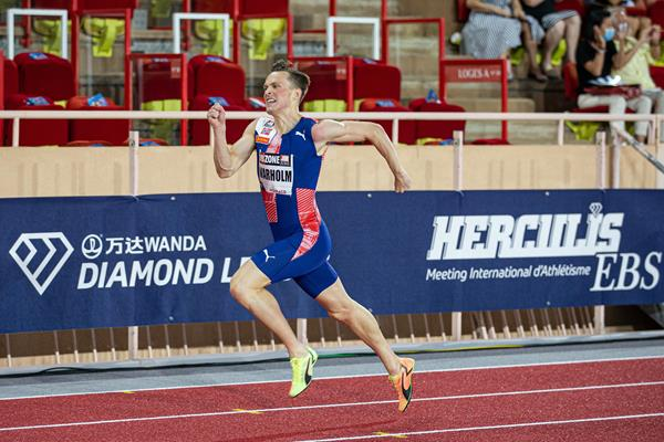 Karsten Warholm on his way to winning the 400m hurdles at the Diamond League meeting in Monaco (Philippe Fitte)