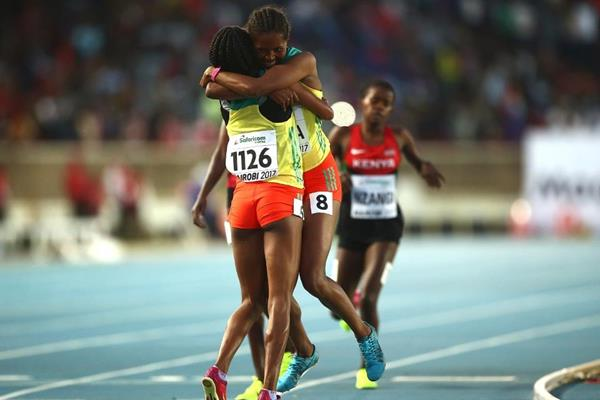 Ethiopia's Lemlem Hailu and Sindu Girma celebrate 1500m success at the IAAF World U18 Championships Nairobi 2017 (Getty Images)