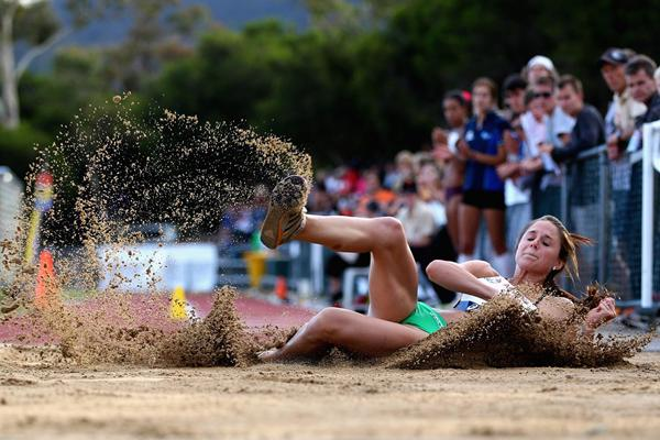 Linda Leverton in the Triple Jump at the Briggs Classic (Getty Images)