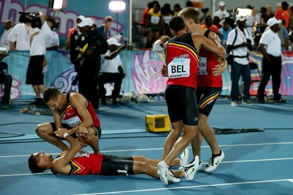 Belgium after winning the 4x400m bronze medal at the IAAF/BTC World Relays, Bahamas 2015 (Getty Images)