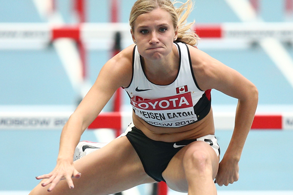 Canadian heptathlete Brianne Theisen Eaton in the 100m hurdles (Getty Images)