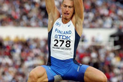 Tommi Evila of Finland in the Long Jump final (Getty Images)