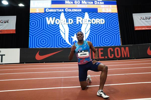 Christian Coleman and his world record numbers in Albuquerque (Victah Sailer)