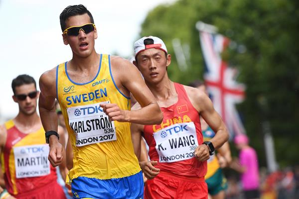 Sweden's Perseus Karlstrom in the 20km race walk at the IAAF World Championships (AFP / Getty Images)