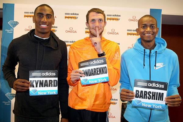 Men's high jump trio - Kynard, Bondarenko, Barshim - ahead of their battle in New York (Victah Sailer)