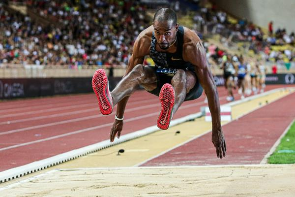 Christian Taylor sailing to another triple jump victory at the IAAF Diamond League meeting in Monaco (Philippe Fitte)