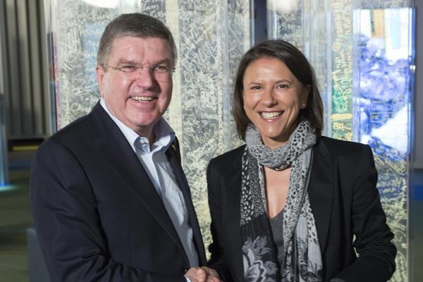 IOC President Thomas Bach with Susana Feitor (IOC)