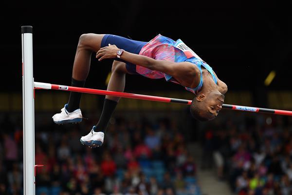 Mutaz Essa Barshim in the high jump at the IAAF Diamond League meeting in Birmingham (Getty Images)