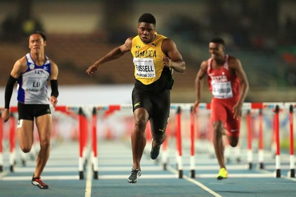 De'Jour Russell on his way to victory in the boys' 110m hurdles final at the IAAF U18 World Championships Nairobi 2017 (Getty Images)
