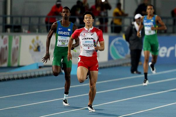 Kotaro Taniguchi anchors Japan in the 4x100m at the IAAF World Relays (Getty Images)
