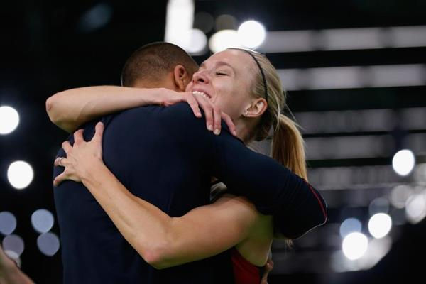 Ashton Eaton embraces his wife Brianne Theisen-Eaton after she wins the pentathlon at the IAAF World Indoor Championships Portland 2016 (Getty Images)