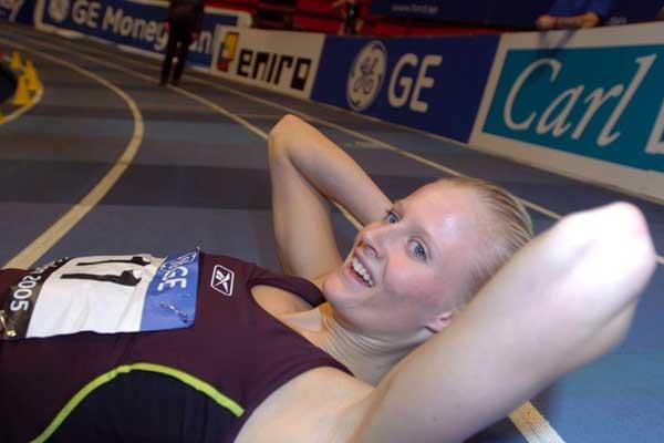 Carolina Klüft rests after her Triathlon in Stockholm (Hasse Sjögren)