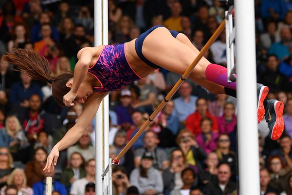 Katerina Stefanidi in the pole vault at the IAAF Diamond League meeting in Birmingham (Getty Images)