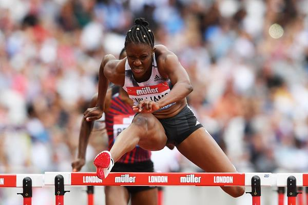 Danielle Williams en route to a 12.32 Jamaican record in London (Getty Images)
