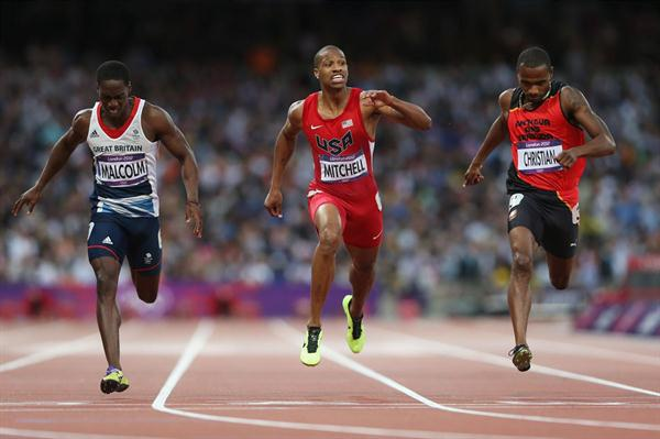 (L-R) Christian Malcolm of Great Britain, Maurice Mitchell of the United States, Brendan Christian of Antigua and Barbuda compete in the Men's 200m Semifinals on Day 12 of the London Olympic Games on 8 August 2012 (Getty Images)