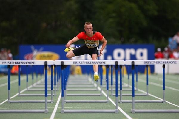 Gregor Traber of Germany competes alone in the Boys 110m Hurdles (Getty Images)