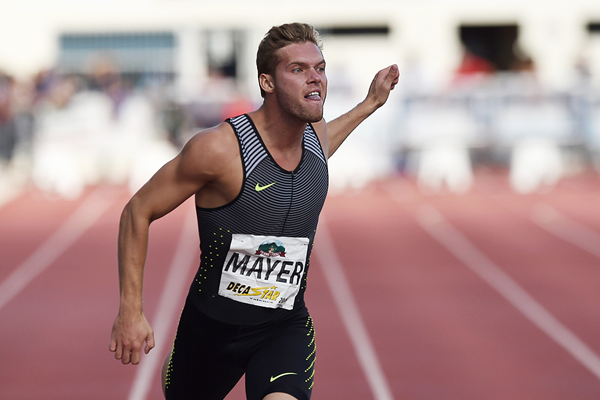 Kevin Mayer in the decathlon 100m at the Decastar meeting in Talence (AFP / Getty Images)