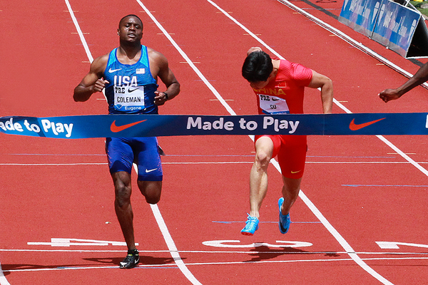 Christian Coleman in the 100m at the IAAF Diamond League meeting in Eugene (Victah Sailer)