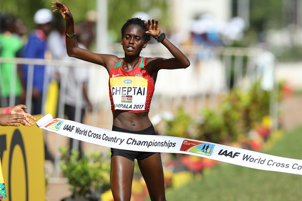 Irene Cheptai wins the senior women's race at the IAAF World Cross Country Championships Kampala 2017 (Roger Sedres)