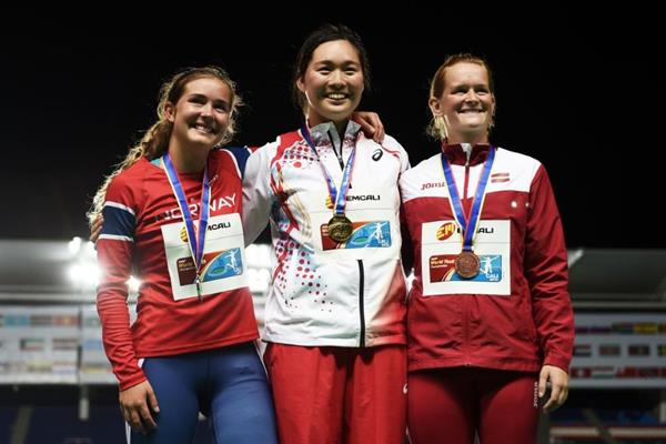Girls' javelin throw podium at the IAAF World Youth Championships, Cali 2015 (Getty Images)