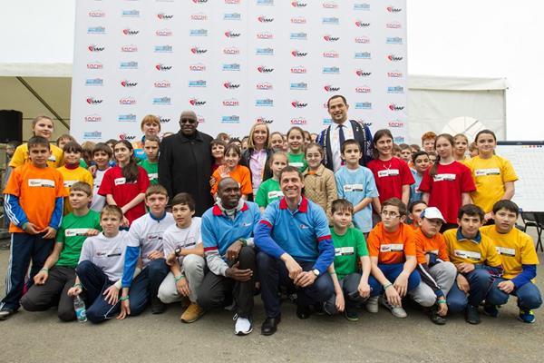 IAAF President Lamine Diack, Gabriella Szabo, Koji Murofushi, Yuriy Borzakovskiy and Wilson Kipketer at the IAAF / Nestlé Kids' Athletics event in Sochi (Getty Images)