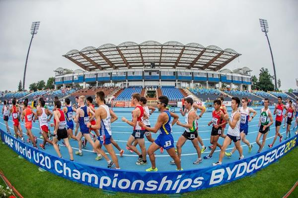 The men's 10,000m race walk at the IAAF World U20 Championships Bydgoszcz 2016 (Getty Images)
