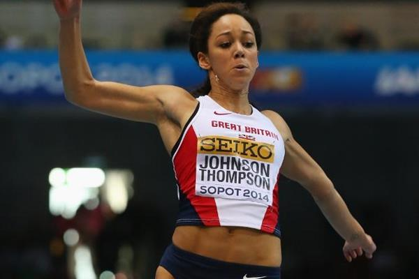 Katarina Johnson-Thompson in the long jump at the 2014 IAAF World Indoor Championships in Sopot (Getty Images)