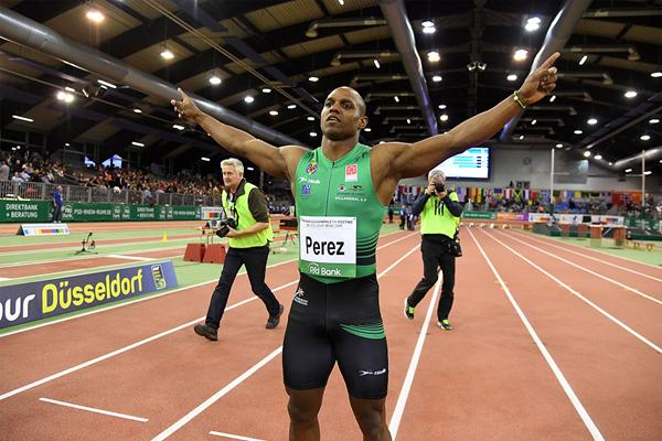 Yunier Perez after winning the 60m at the IAAF World Indoor Tour Meeting in Dusseldorf (Gladys Chai von der Laage)