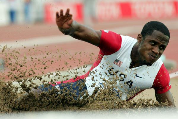 Dwight Phillips of the US in the Long Jump final (Getty Images)