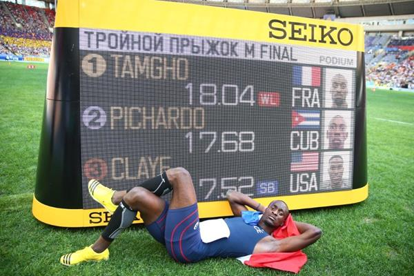 Teddy Tamgho in the mens Triple Jump at the IAAF World Athletics Championships Moscow 2013 (Getty Images)