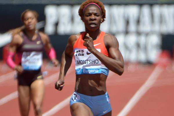 Amantle Montsho wins the 400m at the IAAF Diamond League meeting in Eugene (Kirby Lee)