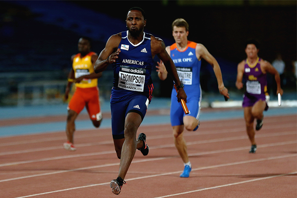 Richard Thompson anchors Americas to victory in the 4x100m at the IAAF Continental Cup, Marrakech 2014 (Getty Images)