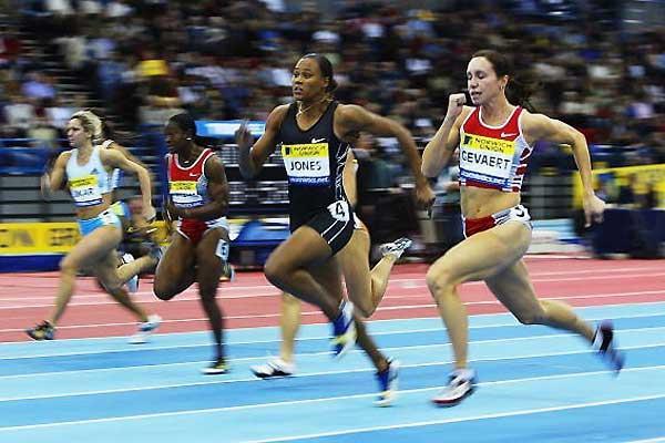 Women's 60m - Gevaert (nearest) heads Jones (Getty Images)