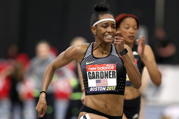 English Gardner on the way to her 60m victory at the IAAF World Indoor Tour meeting in Boston (Victah Sailer)