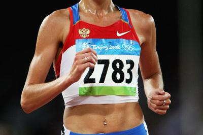 Gulnara Galkina sets an Olympic record in the first heat of the women's 3000m steepplechase (Getty Images)