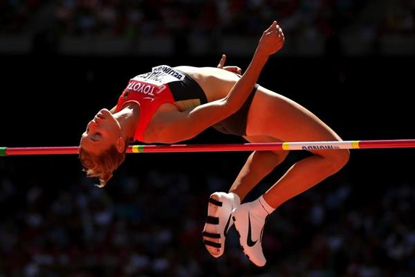 Carolin Schafer in the heptathlon high jump at the IAAF World Championships, Beijing 2015 (Getty Images)