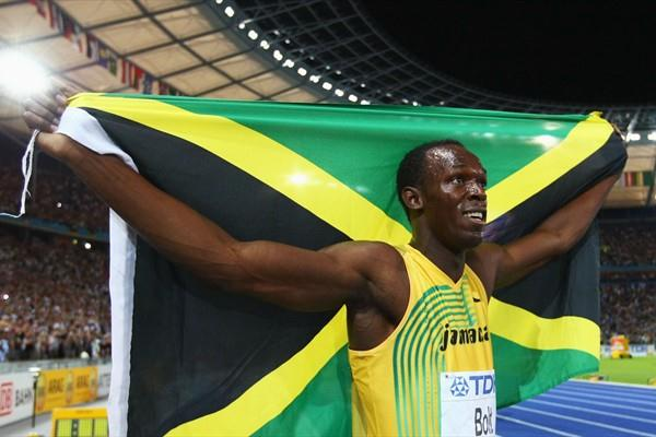 Jamaica's Usain Bolt celebrates winning the gold medal in the men's 100 Metres with yet another World Record (Getty Images)