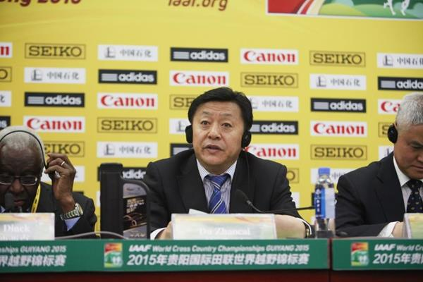 Director of Chinese Athletics Association Du Zhaocai at the press conference for the IAAF World Cross Country Championships, Guiyang 2015 (Getty Images)