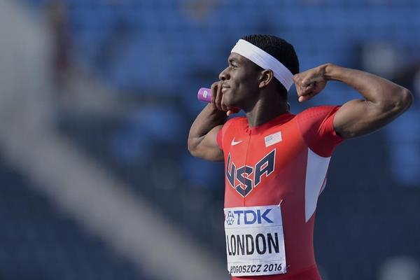 Will London of the USA after winning the 4x400m at the IAAF World U20 Championships Bydgoszcz 2016 (Getty Images)