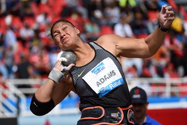 Valerie Adams in the shot put at the IAAF Diamond League meeting in Rabat (Kirby Lee)