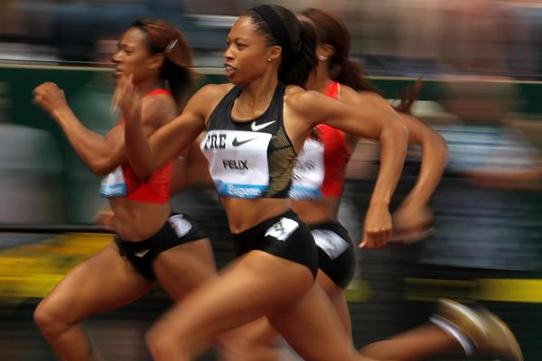 Allyson Felix in the 400m at the IAAF Diamond League meeting in Eugene (Getty Images)