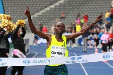Abraham Cheroben winning the 2014 Berlin 25km (organisers / Victah Sailer)