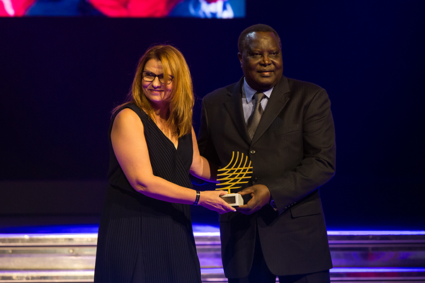 Polyxeni Argeitaki receives the Women in Athletics award at the IAAF Athletics Awards 2016 (Philippe Fitte / IAAF)