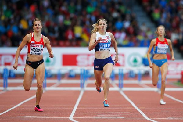 Eilidh Child (centre) winning the 400m hurdles at the 2014 European Athletics Championships (Getty Images)